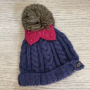 Accessories - Blue Winter Hat with Gray Pom Pom and Pink Bow